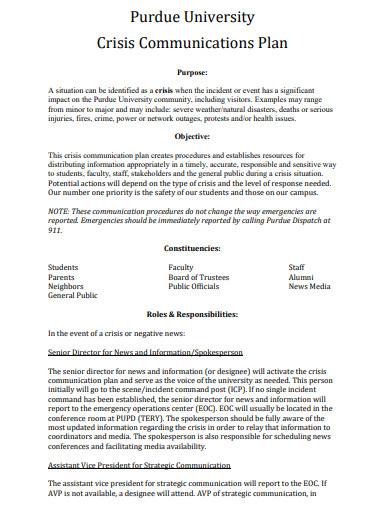 crisis communication plan for university