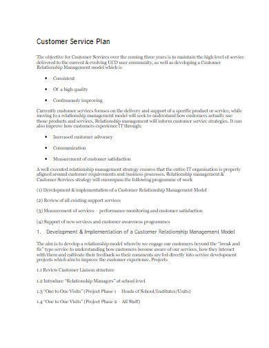 customer service plan proposal
