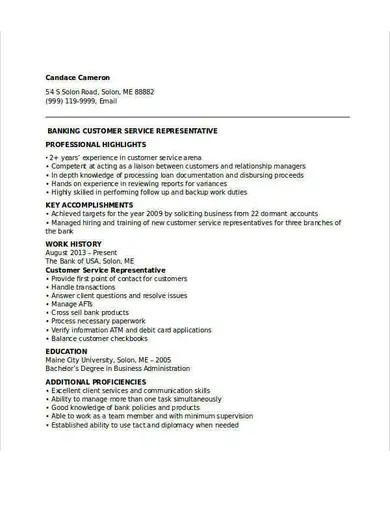 customer service representative resume