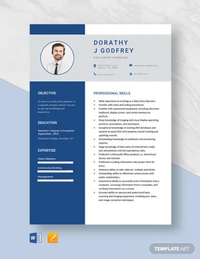 data entry operator resume template