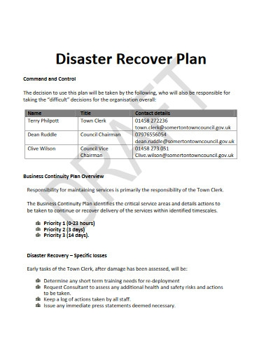 disaster recover plan in pdf