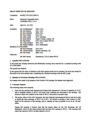 draft minutes of the meeting in pdf