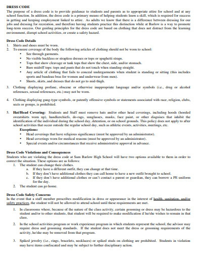 dress code policy template