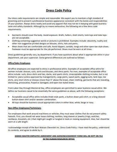 dress code policy in pdf