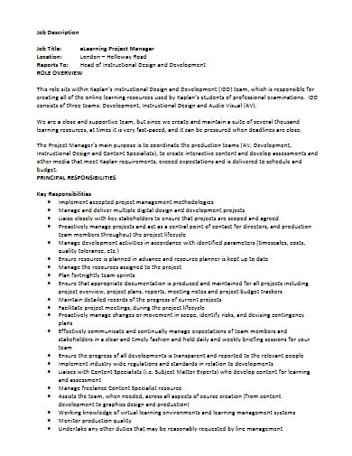 e learning project manager job description