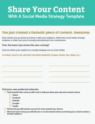 editable social media strategy template
