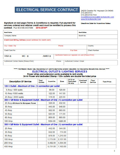 electrical service contract invoice