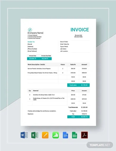 electrical work order invoice template