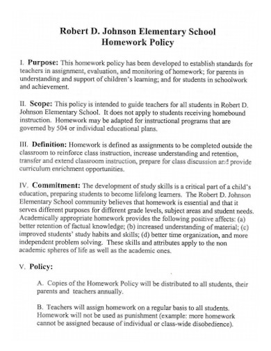 elementry school homework policy