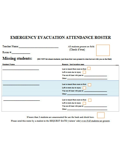 emergency evacuation attendance roster