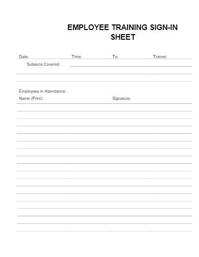 employee training sign in sheet