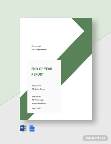 end of year school report template