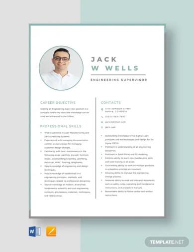 engineering supervisor resume template