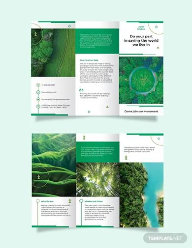 environmental conservation tri fold brochure template
