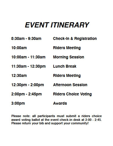 event itinerary example