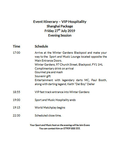 event itinerary in pdf