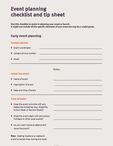 event planning checklist example