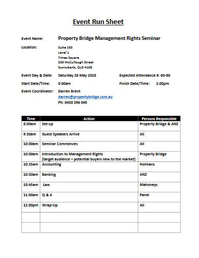event run sheet in pdf