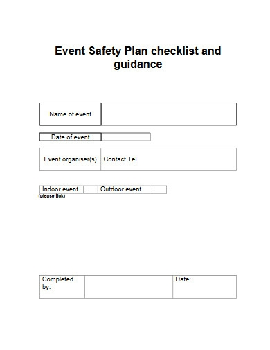 event safety plan checklist