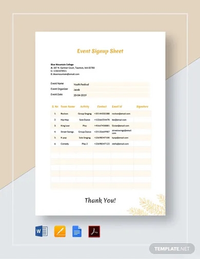 event signup sheet templates
