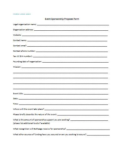 event sponsorship proposal form