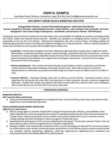 executive director cv template