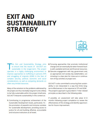 exit and sustainability strategy