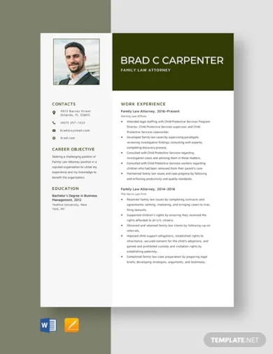 family law attorney resume template