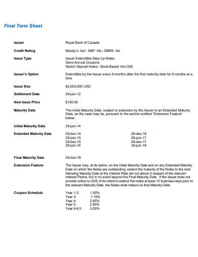 final term sheet
