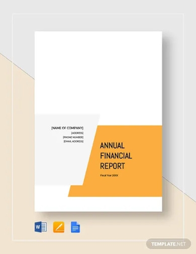 financial report sample for small business template