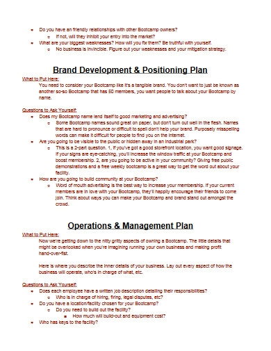 fitness business plan template