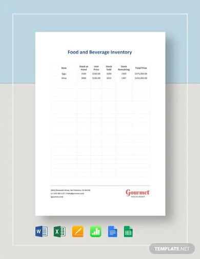 food beverage inventory template