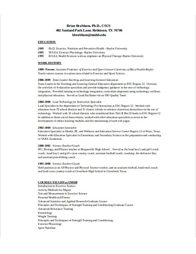 football coach resume template