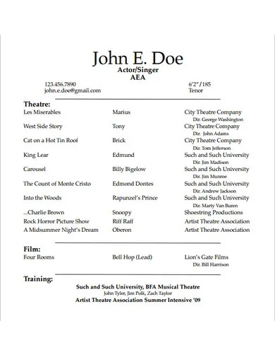 formal actor resume template
