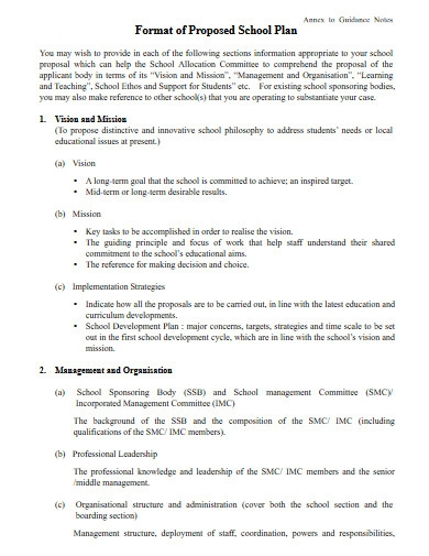 format of proposed school plan