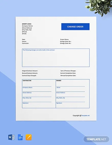 free blank construction change order template