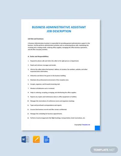 free business administrative assistant job description template