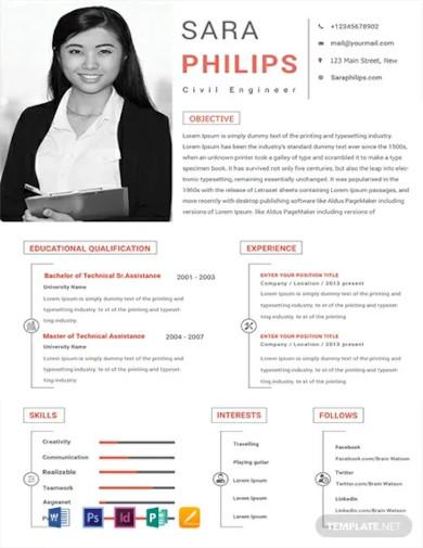 free civil engineer sample resume template