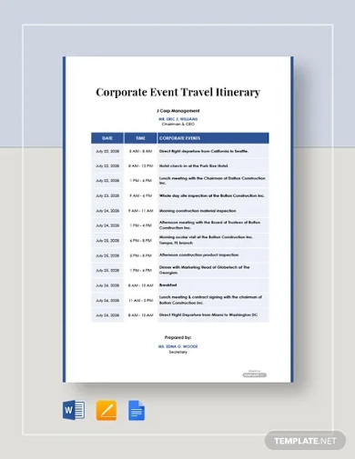 free corporate event travel itinerary template