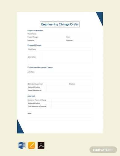 free engineering change order template