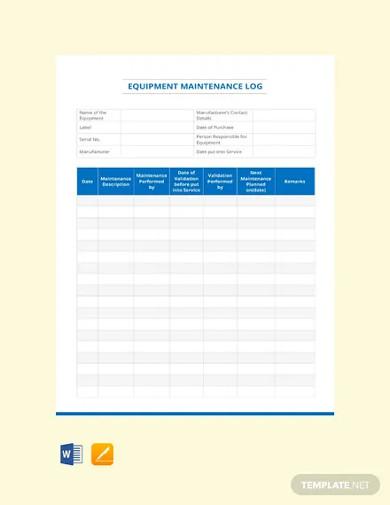 free equipment maintenance log template