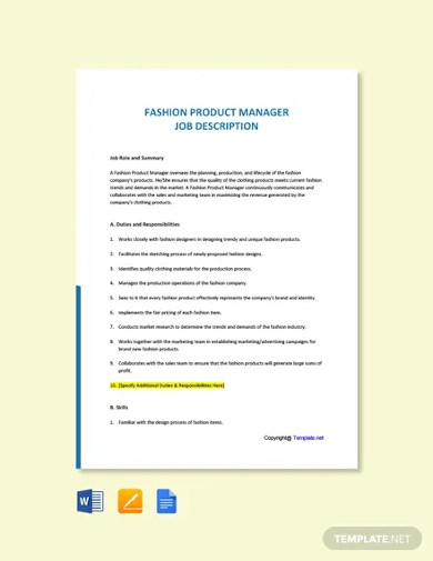 free fashion product manager job description template