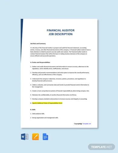 free financial auditor job description template