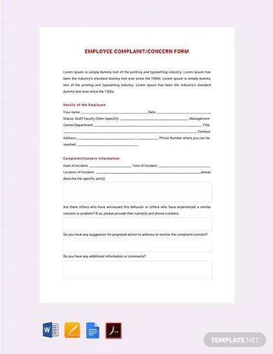 free hr employee complaint concern form template