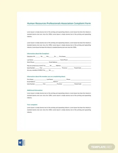 free hr professionals association complaint form