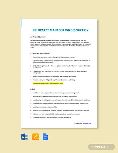 free hr project manager job description template