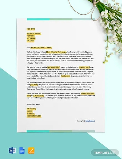 free it business proposal letter template
