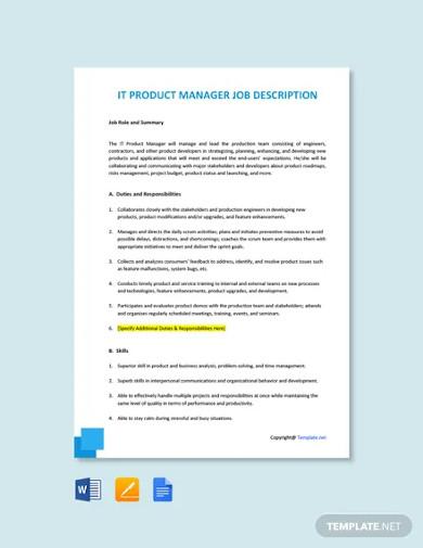 free it product manager job description template