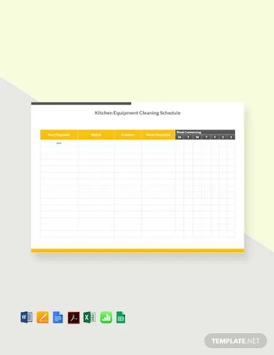 free kitchen cleaning schedule template