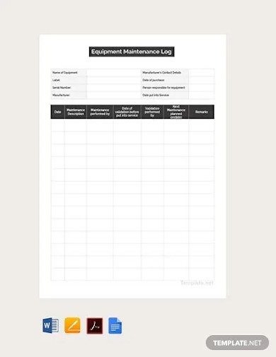 free maintenance log template